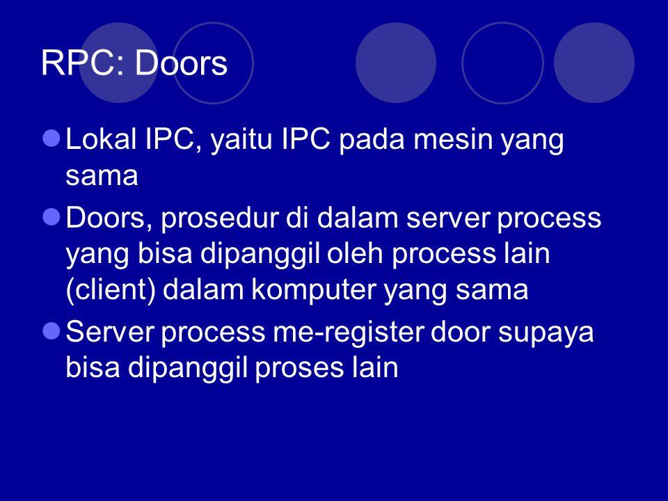 RPC: Doors Client Process k=add(i,j) proc: add Int: iInt: j Client stub Client OS Server Process k=add(i,j) proc: add Int: iInt: j Server stub Server OS proc: add Int: iInt: j public add(i,j) Komputer