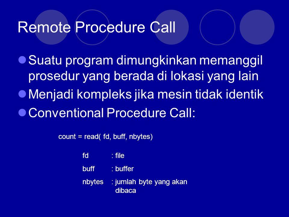 Remote Procedure Call Conventional Procedure Call  Saat pemanggilan prosedur, program mendorong parameter-parameter tersebut ke dalam stack (Last one First)  Setelah selesai, prosedur memasukkan nilai return ke suatu register, menghapus return address, dan mengirim control back ke pemanggil.