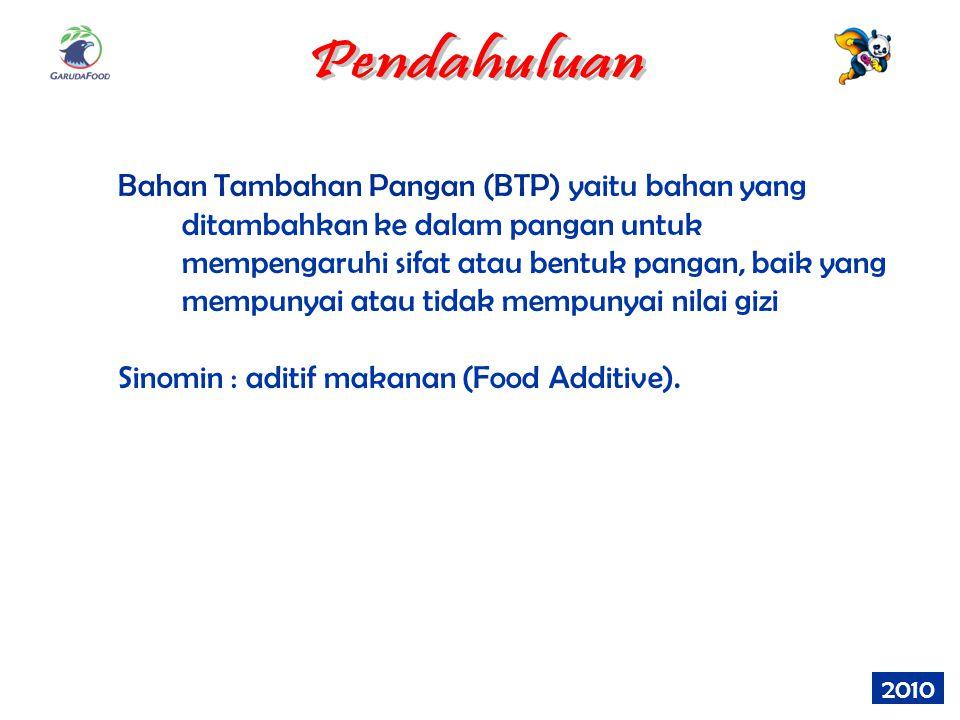 2010 Bahan Tambahan Pangan (BTP) yaitu bahan yang ditambahkan ke dalam pangan untuk mempengaruhi sifat atau bentuk pangan, baik yang mempunyai atau ti
