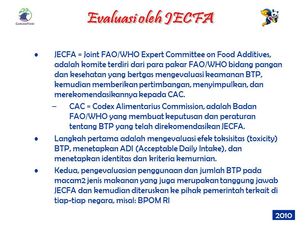JECFA = Joint FAO/WHO Expert Committee on Food Additives, adalah komite terdiri dari para pakar FAO/WHO bidang pangan dan kesehatan yang bertgas menge