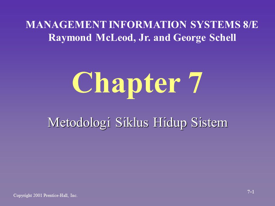 Chapter 7 Metodologi Siklus Hidup Sistem MANAGEMENT INFORMATION SYSTEMS 8/E Raymond McLeod, Jr. and George Schell Copyright 2001 Prentice-Hall, Inc. 7