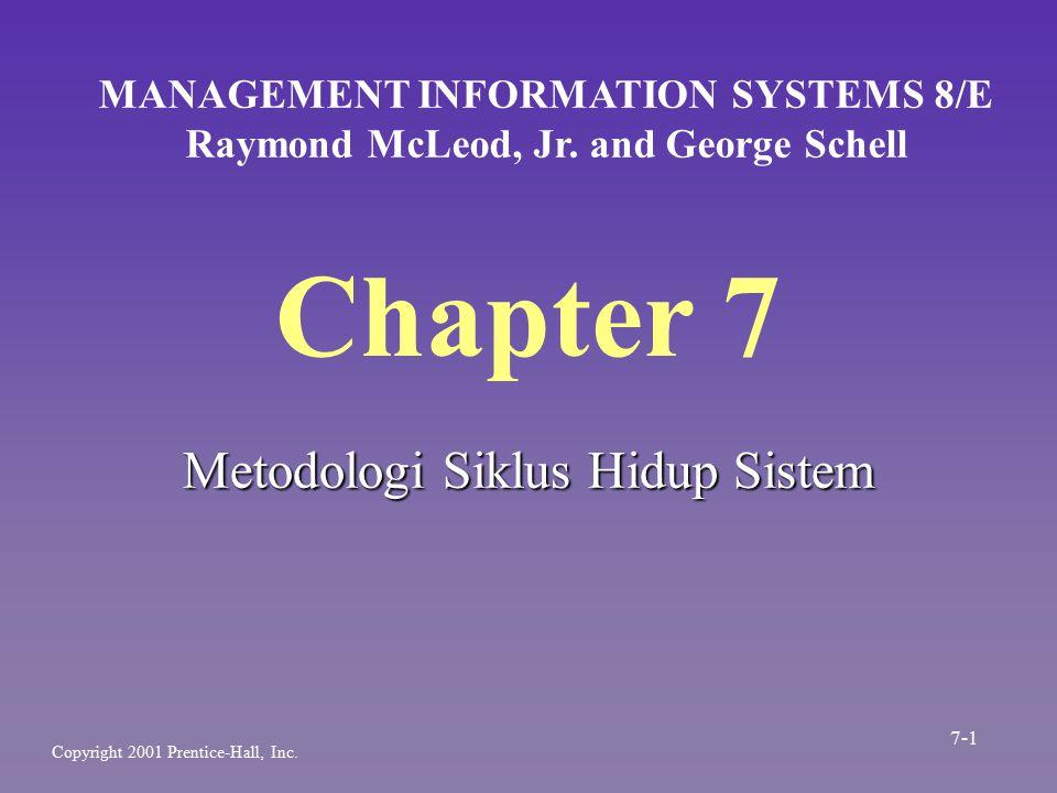 Siklus Hidup Sistem -The Systems Life Cycle (SLC)- n SLC merupakan serangkaian tugas yang mengikuti langkah-langkah susteeb dakam menerapkan sistem informasi berbasis komputer n Karena mengikuti suatu pola tertatur dan dilakukan secara top-down, sering disebut sebagai pendekatan air terjun 7-2