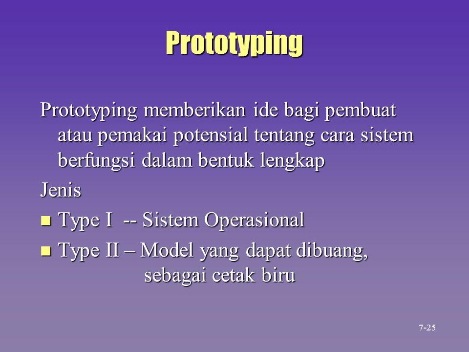 Prototyping Prototyping memberikan ide bagi pembuat atau pemakai potensial tentang cara sistem berfungsi dalam bentuk lengkap Jenis n Type I -- Sistem Operasional n Type II – Model yang dapat dibuang, sebagai cetak biru 7-25