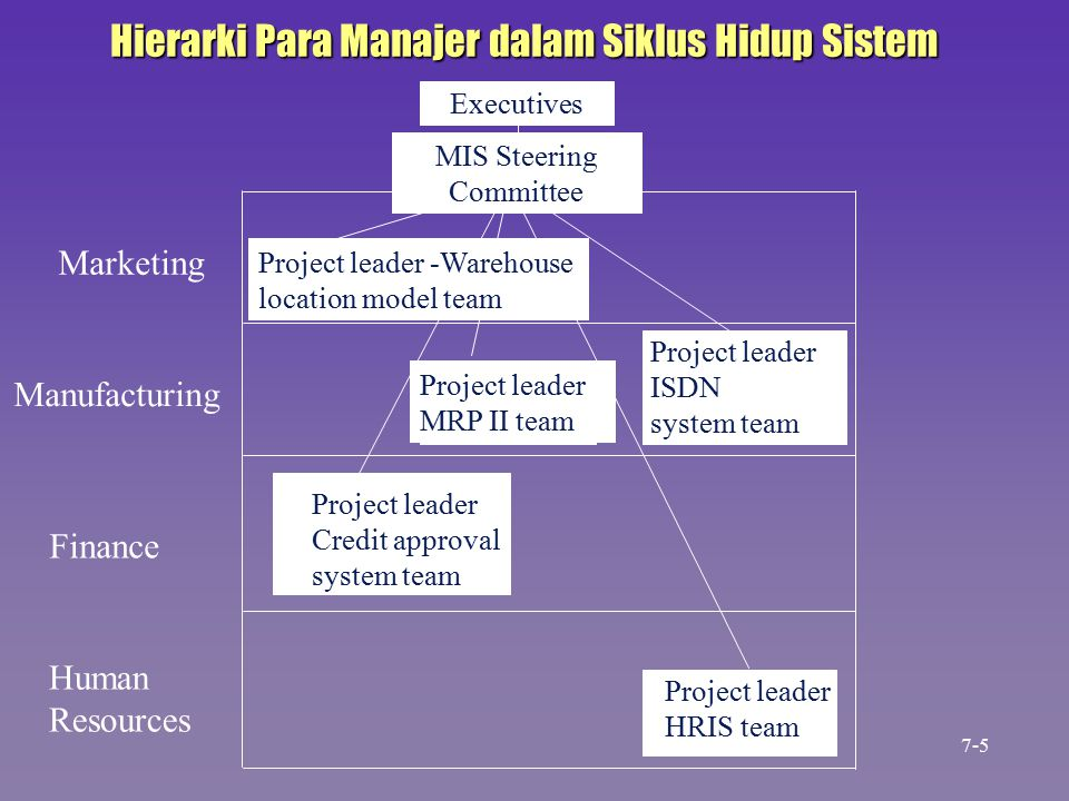 Executives MIS Steering Committee Project leader -Warehouse location model team Project leader MRP II team Project leader ISDN system team Project leader HRIS team Marketing Manufacturing Finance Human Resources Project leader Credit approval system team Hierarki Para Manajer dalam Siklus Hidup Sistem 7-5
