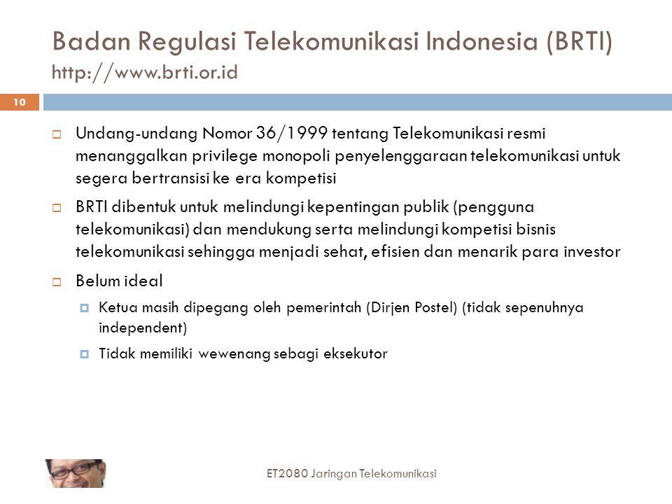 Badan Regulasi Telekomunikasi Indonesia (BRTI) http://www.brti.or.id  Undang-undang Nomor 36/1999 tentang Telekomunikasi resmi menanggalkan privilege