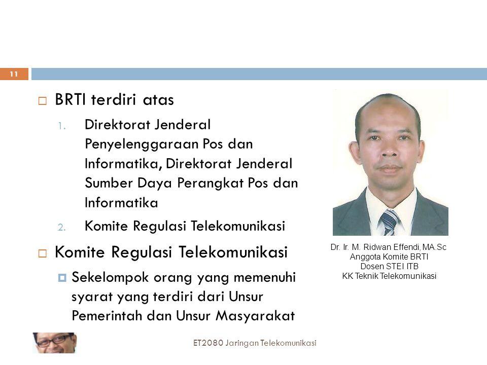  BRTI terdiri atas 1. Direktorat Jenderal Penyelenggaraan Pos dan Informatika, Direktorat Jenderal Sumber Daya Perangkat Pos dan Informatika 2. Komit