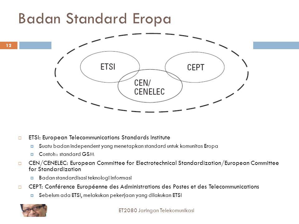12 Badan Standard Eropa  ETSI: European Telecommunications Standards Institute  Suatu badan independent yang menetapkan standard untuk komunitas Ero