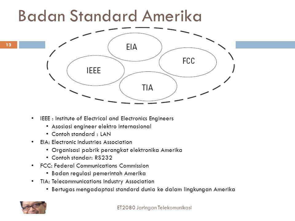 13 Badan Standard Amerika IEEE : Institute of Electrical and Electronics Engineers Asosiasi engineer elektro internasional Contoh standard : LAN EIA: