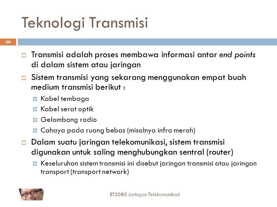 26 Teknologi Transmisi  Transmisi adalah proses membawa informasi antar end points di dalam sistem atau jaringan  Sistem transmisi yang sekarang men