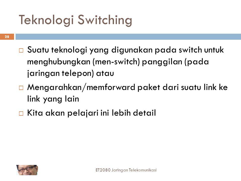 28 Teknologi Switching  Suatu teknologi yang digunakan pada switch untuk menghubungkan (men-switch) panggilan (pada jaringan telepon) atau  Mengarah