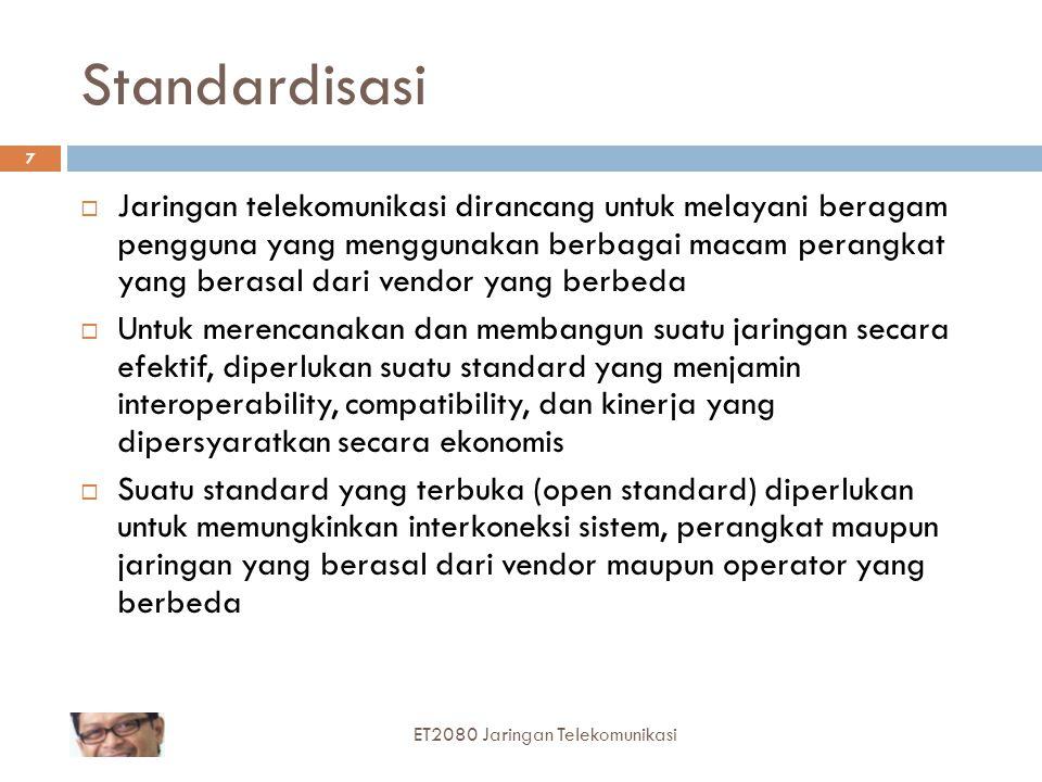 8 Organisasi-organisasi Standard  Otoritas standard nasional  Menetapkan standard resmi suatu negara tertentu Indonesia : Menkominfo Inggris : British Standard Institute (BSI) Jerman : Deutsche Industrie-Normen (DIN) Amerika : American National Standard Institute (ANSI) ET2080 Jaringan Telekomunikasi