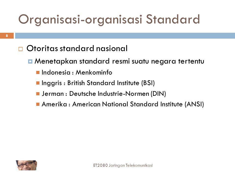 8 Organisasi-organisasi Standard  Otoritas standard nasional  Menetapkan standard resmi suatu negara tertentu Indonesia : Menkominfo Inggris : Briti