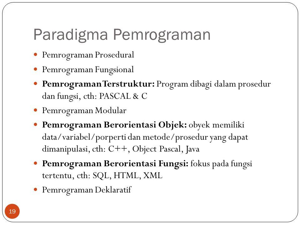 Paradigma Pemrograman Pemrograman Prosedural Pemrograman Fungsional Pemrograman Terstruktur: Program dibagi dalam prosedur dan fungsi, cth: PASCAL & C