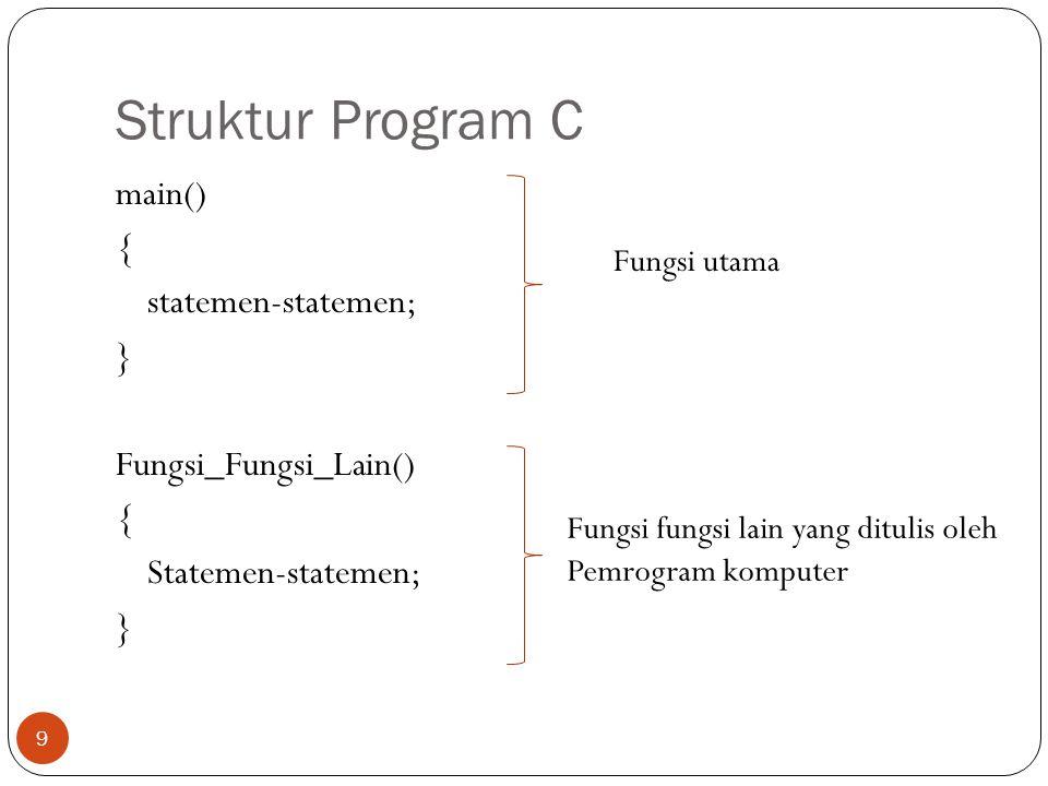 Struktur Program C 9 main() { statemen-statemen; } Fungsi_Fungsi_Lain() { Statemen-statemen; } Fungsi utama Fungsi fungsi lain yang ditulis oleh Pemro