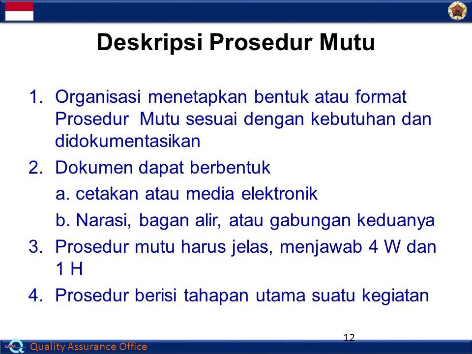 Quality Assurance Office 1.Organisasi menetapkan bentuk atau format Prosedur Mutu sesuai dengan kebutuhan dan didokumentasikan 2. Dokumen dapat berben