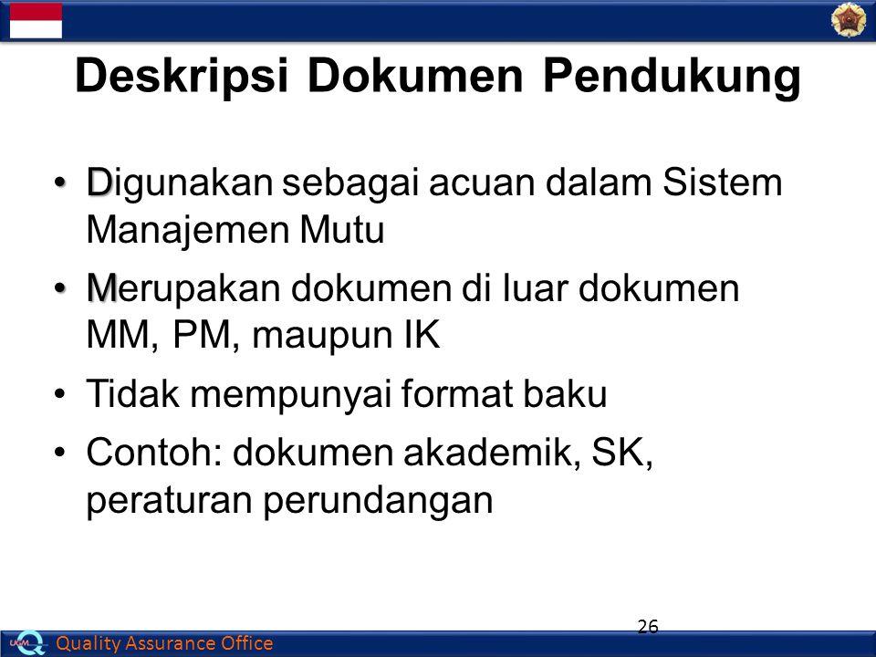 Quality Assurance Office Deskripsi Dokumen Pendukung DDigunakan sebagai acuan dalam Sistem Manajemen Mutu MMerupakan dokumen di luar dokumen MM, PM, m