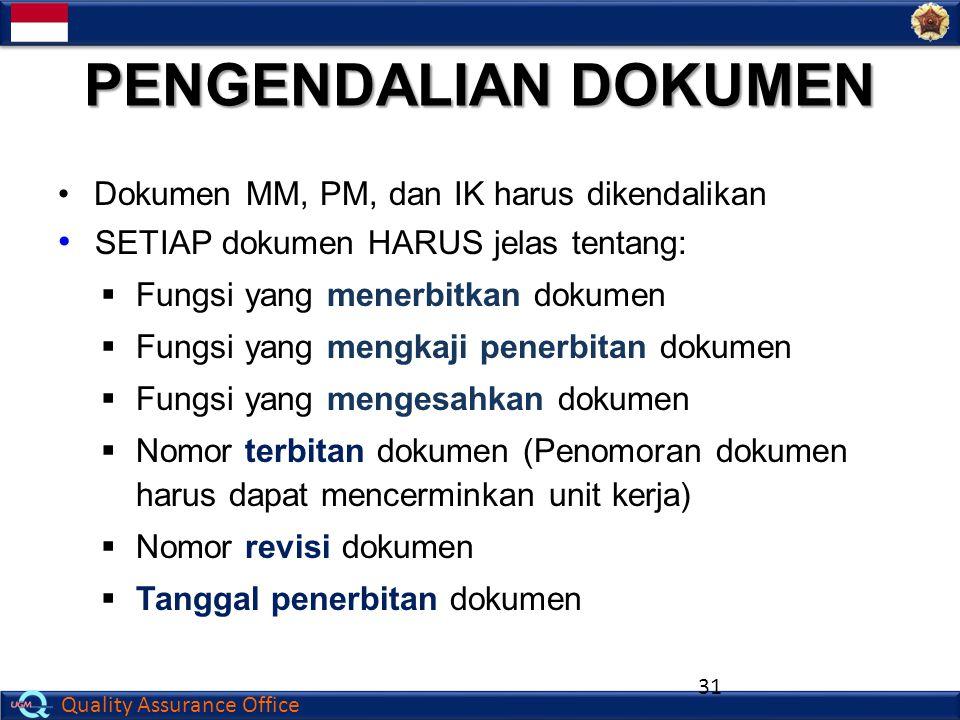 Quality Assurance Office PENGENDALIAN DOKUMEN Dokumen MM, PM, dan IK harus dikendalikan SETIAP dokumen HARUS jelas tentang:  Fungsi yang menerbitkan