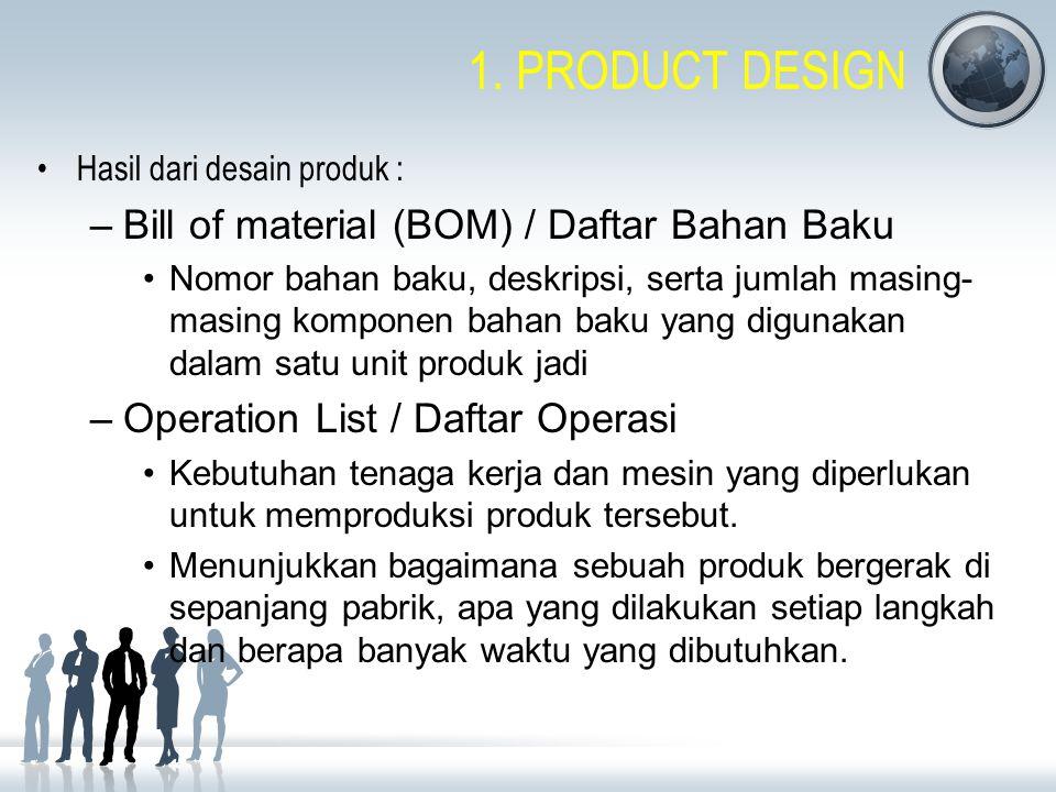 1. PRODUCT DESIGN Hasil dari desain produk : –Bill of material (BOM) / Daftar Bahan Baku Nomor bahan baku, deskripsi, serta jumlah masing- masing komp