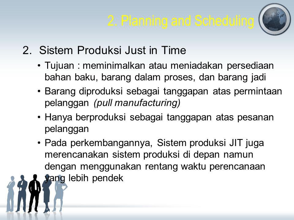 2. Planning and Scheduling 2.Sistem Produksi Just in Time Tujuan : meminimalkan atau meniadakan persediaan bahan baku, barang dalam proses, dan barang