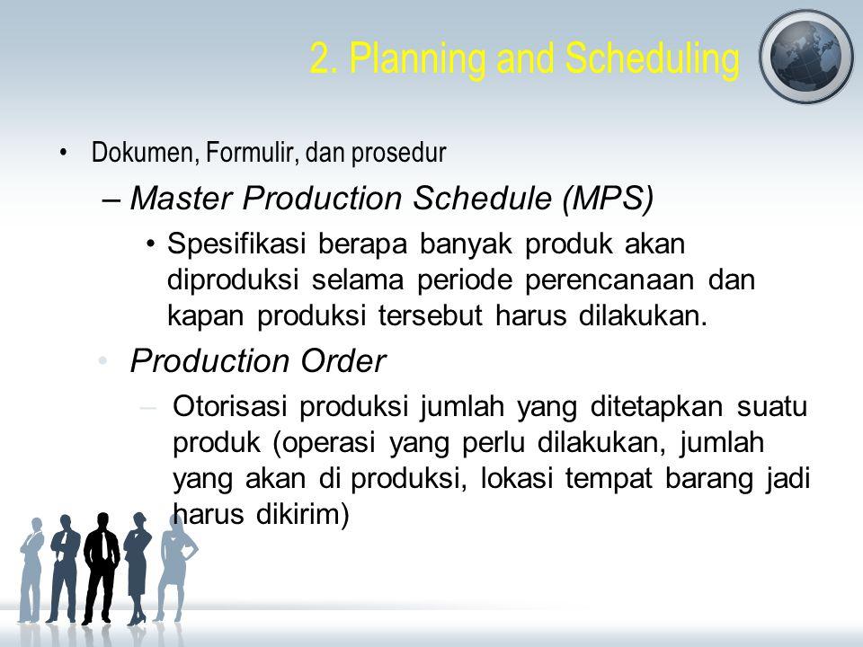 2. Planning and Scheduling Dokumen, Formulir, dan prosedur –Master Production Schedule (MPS) Spesifikasi berapa banyak produk akan diproduksi selama p