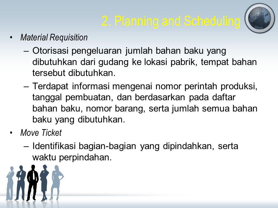 2. Planning and Scheduling Material Requisition –Otorisasi pengeluaran jumlah bahan baku yang dibutuhkan dari gudang ke lokasi pabrik, tempat bahan te