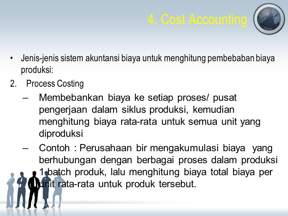 4. Cost Accounting Jenis-jenis sistem akuntansi biaya untuk menghitung pembebaban biaya produksi: 2.Process Costing –Membebankan biaya ke setiap prose