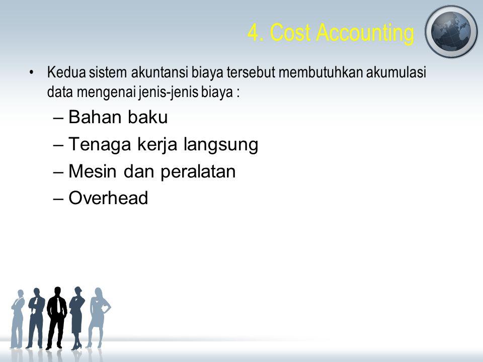 4. Cost Accounting Kedua sistem akuntansi biaya tersebut membutuhkan akumulasi data mengenai jenis-jenis biaya : –Bahan baku –Tenaga kerja langsung –M