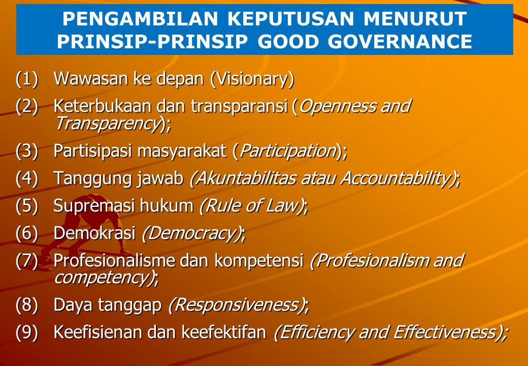 PENGAMBILAN KEPUTUSAN MENURUT PRINSIP-PRINSIP GOOD GOVERNANCE (1)Wawasan ke depan (Visionary) (2)Keterbukaan dan transparansi (Openness and Transparen