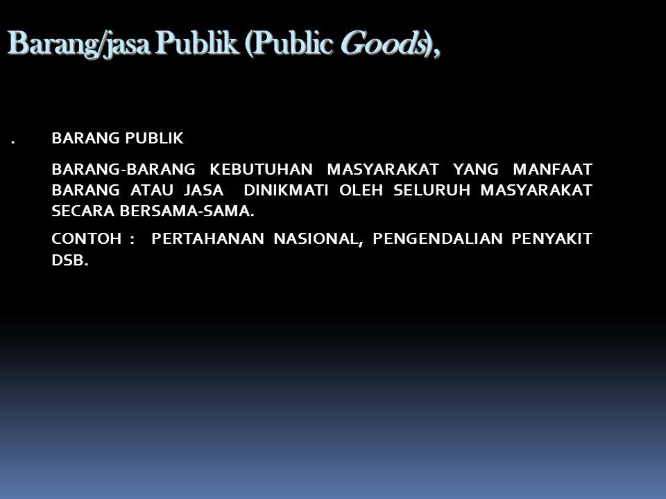 Barang / Jasa Privat (Private Goods) BARANG-BARANG KEBUTUHAN MASYARAKAT YANG MANFAAT BARANG ATAU JASA TERSEBUT HANYA DINIKMATI SECARA INDIVIDUAL OLEH YANG MEMBELINYA, SEDANGKAN YANG TIDAK MENGKONSUMSI TIDAK DAPAT MENIKMATI BARANG/JASA TERSEBUT.