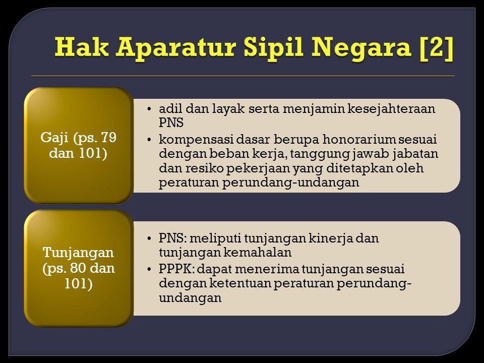adil dan layak serta menjamin kesejahteraan PNS kompensasi dasar berupa honorarium sesuai dengan beban kerja, tanggung jawab jabatan dan resiko pekerjaan yang ditetapkan oleh peraturan perundang-undangan Gaji (ps.