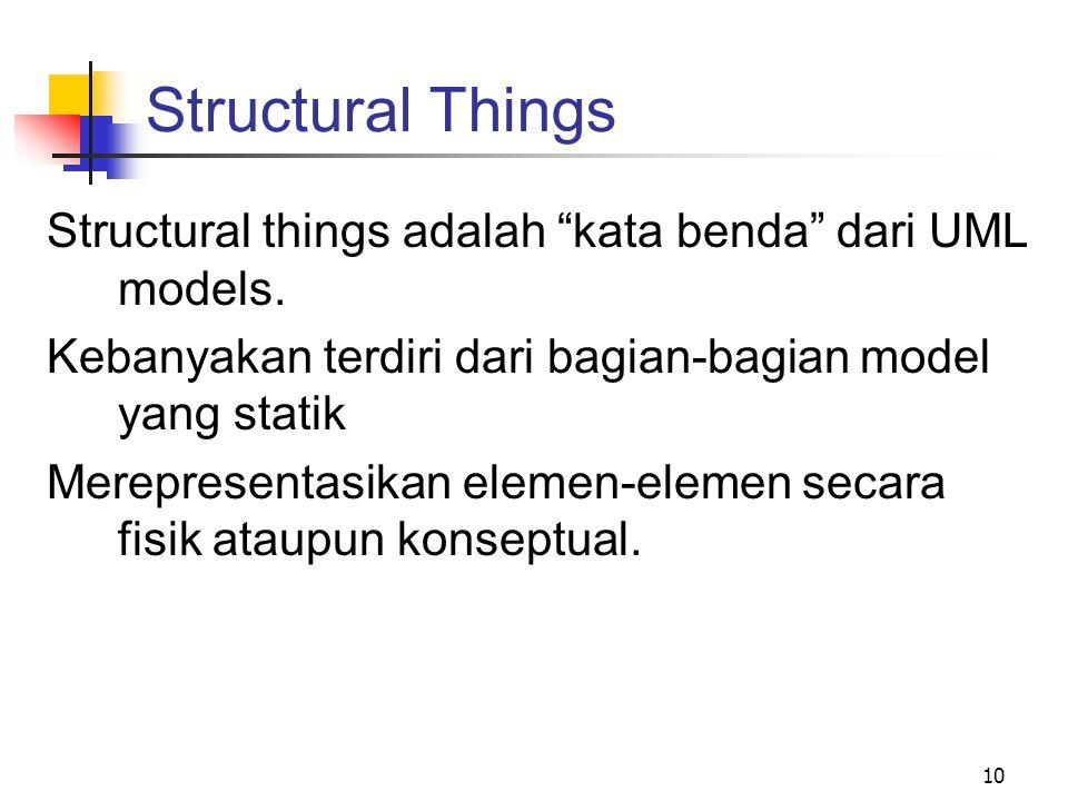 """10 Structural Things Structural things adalah """"kata benda"""" dari UML models. Kebanyakan terdiri dari bagian-bagian model yang statik Merepresentasikan"""
