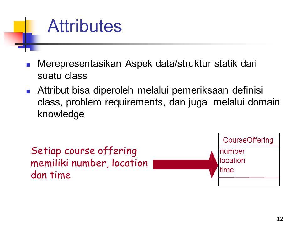 12 Merepresentasikan Aspek data/struktur statik dari suatu class Attribut bisa diperoleh melalui pemeriksaan definisi class, problem requirements, dan juga melalui domain knowledge Setiap course offering memiliki number, location dan time CourseOffering number location time Attributes