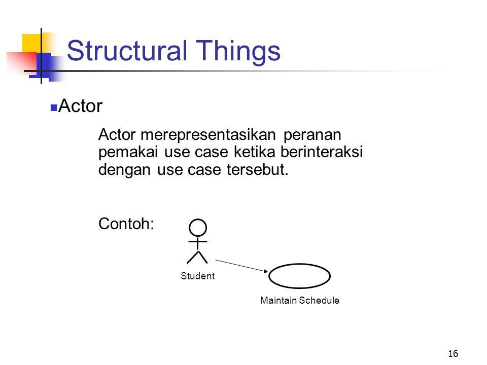 16 Structural Things Actor Actor merepresentasikan peranan pemakai use case ketika berinteraksi dengan use case tersebut. Contoh: Student Maintain Sch