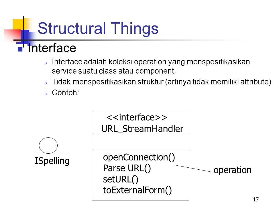 17 Structural Things Interface  Interface adalah koleksi operation yang menspesifikasikan service suatu class atau component.  Tidak menspesifikasik