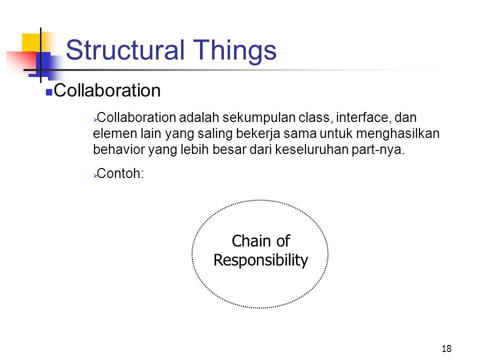 18 Structural Things Collaboration  Collaboration adalah sekumpulan class, interface, dan elemen lain yang saling bekerja sama untuk menghasilkan behavior yang lebih besar dari keseluruhan part-nya.