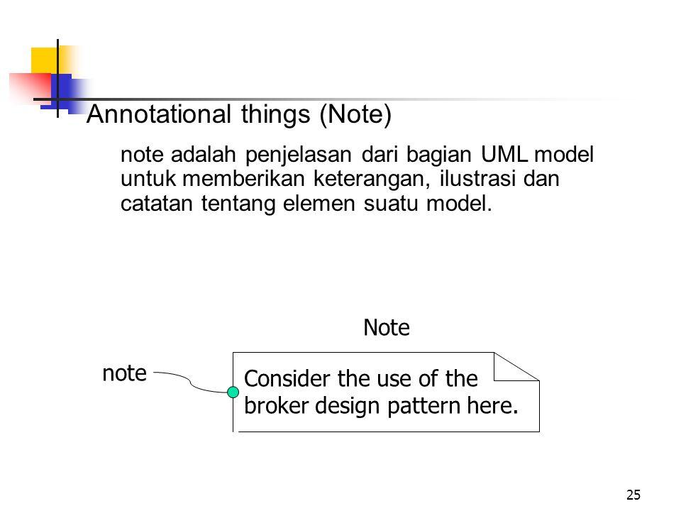 25 Annotational things (Note) note adalah penjelasan dari bagian UML model untuk memberikan keterangan, ilustrasi dan catatan tentang elemen suatu model.