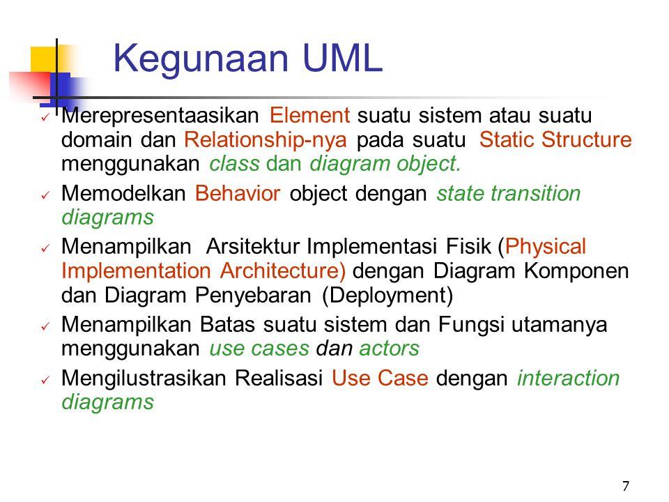 7 Kegunaan UML Merepresentaasikan Element suatu sistem atau suatu domain dan Relationship-nya pada suatu Static Structure menggunakan class dan diagram object.
