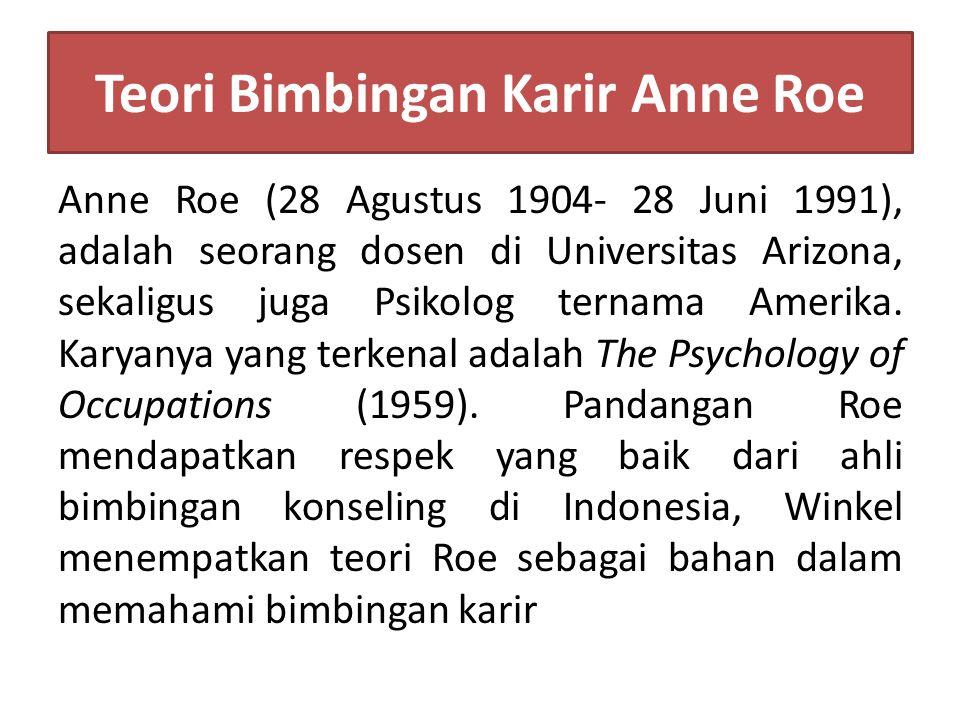 Teori Bimbingan Karir Anne Roe Anne Roe (28 Agustus 1904- 28 Juni 1991), adalah seorang dosen di Universitas Arizona, sekaligus juga Psikolog ternama Amerika.