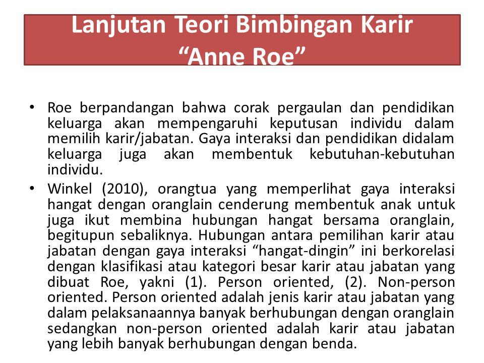 Lanjutan Teori Bimbingan Karir Anne Roe Roe berpandangan bahwa corak pergaulan dan pendidikan keluarga akan mempengaruhi keputusan individu dalam memilih karir/jabatan.