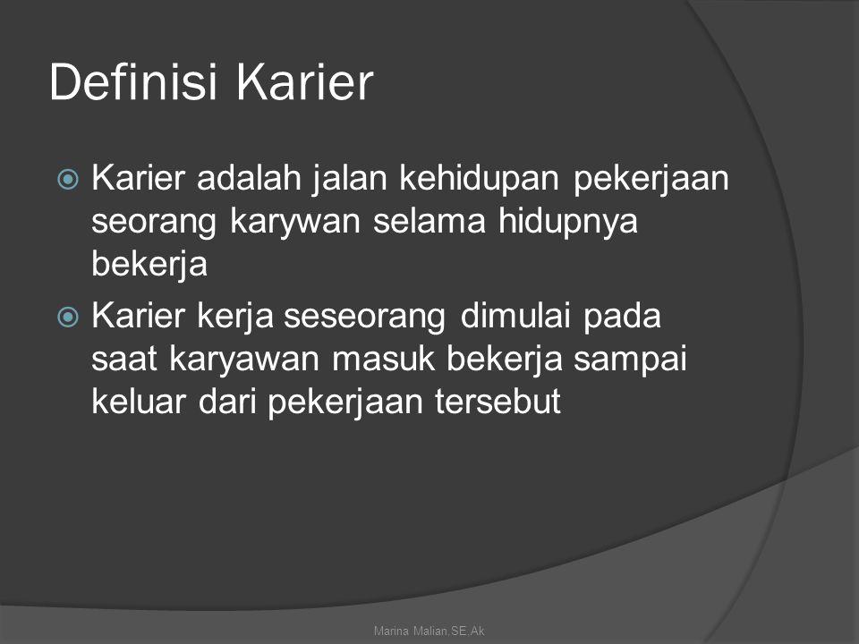 Definisi Karier  Karier adalah jalan kehidupan pekerjaan seorang karywan selama hidupnya bekerja  Karier kerja seseorang dimulai pada saat karyawan masuk bekerja sampai keluar dari pekerjaan tersebut Marina Malian,SE,Ak