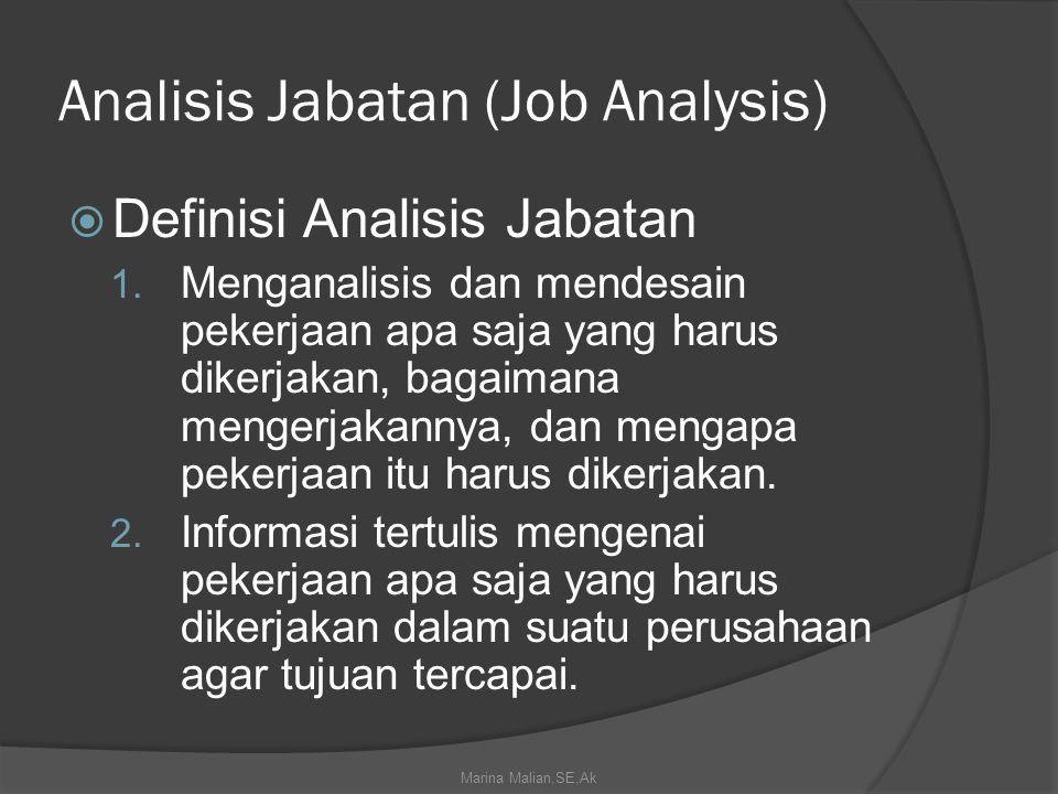 Analisis Jabatan (Job Analysis)  Definisi Analisis Jabatan 1.