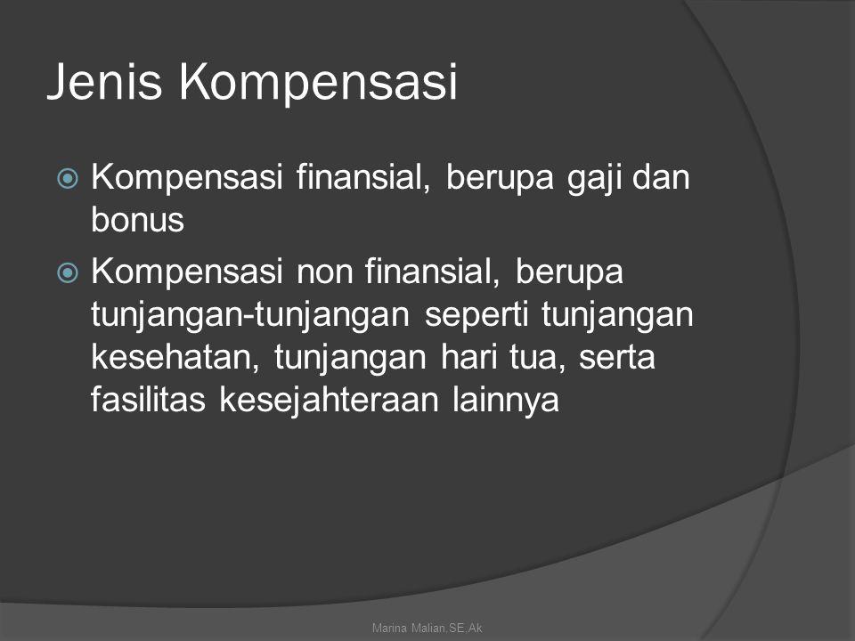 Jenis Kompensasi  Kompensasi finansial, berupa gaji dan bonus  Kompensasi non finansial, berupa tunjangan-tunjangan seperti tunjangan kesehatan, tunjangan hari tua, serta fasilitas kesejahteraan lainnya Marina Malian,SE,Ak