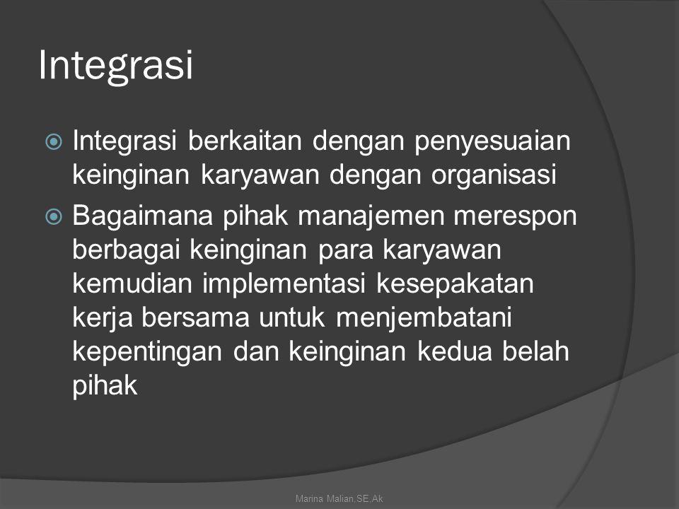 Integrasi  Integrasi berkaitan dengan penyesuaian keinginan karyawan dengan organisasi  Bagaimana pihak manajemen merespon berbagai keinginan para karyawan kemudian implementasi kesepakatan kerja bersama untuk menjembatani kepentingan dan keinginan kedua belah pihak Marina Malian,SE,Ak