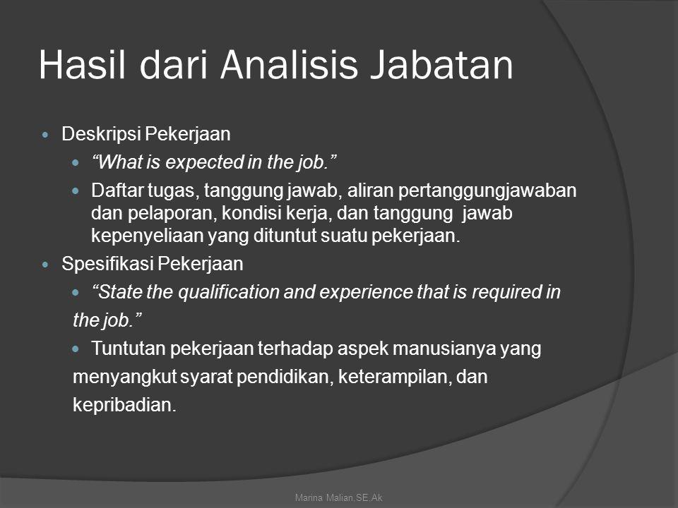 Hasil dari Analisis Jabatan Deskripsi Pekerjaan What is expected in the job. Daftar tugas, tanggung jawab, aliran pertanggungjawaban dan pelaporan, kondisi kerja, dan tanggung jawab kepenyeliaan yang dituntut suatu pekerjaan.
