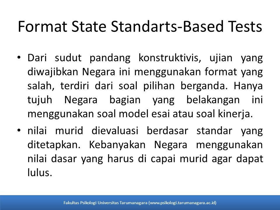Format State Standarts-Based Tests Dari sudut pandang konstruktivis, ujian yang diwajibkan Negara ini menggunakan format yang salah, terdiri dari soal pilihan berganda.