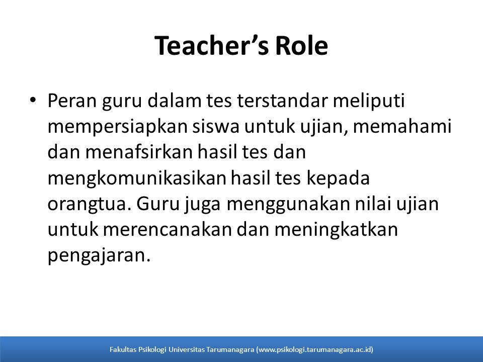 Teacher's Role Peran guru dalam tes terstandar meliputi mempersiapkan siswa untuk ujian, memahami dan menafsirkan hasil tes dan mengkomunikasikan hasil tes kepada orangtua.