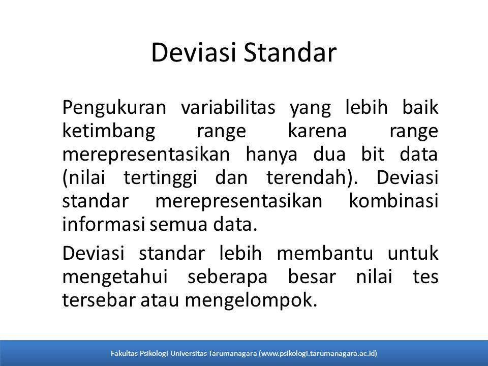 Deviasi Standar Pengukuran variabilitas yang lebih baik ketimbang range karena range merepresentasikan hanya dua bit data (nilai tertinggi dan terendah).