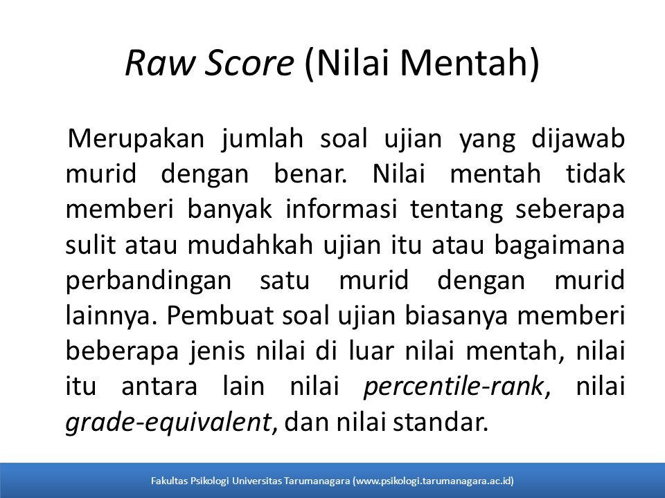 Raw Score (Nilai Mentah) Merupakan jumlah soal ujian yang dijawab murid dengan benar.