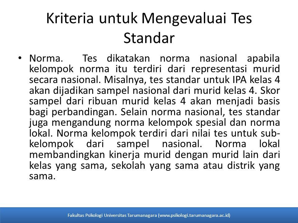 Kriteria untuk Mengevaluai Tes Standar Norma.