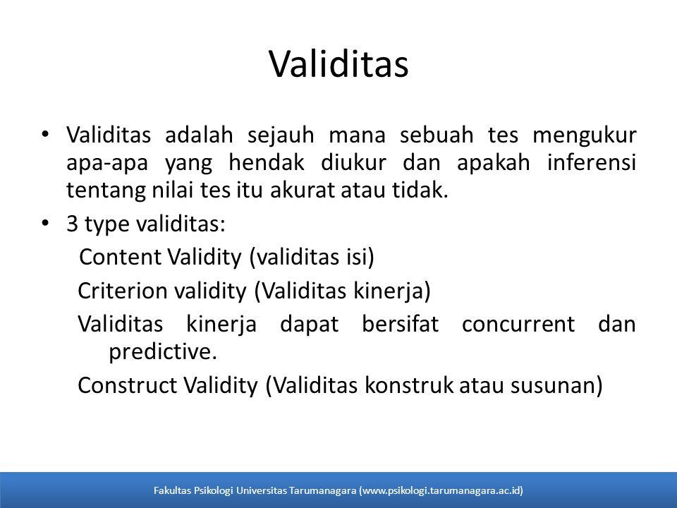 Validitas Validitas adalah sejauh mana sebuah tes mengukur apa-apa yang hendak diukur dan apakah inferensi tentang nilai tes itu akurat atau tidak.